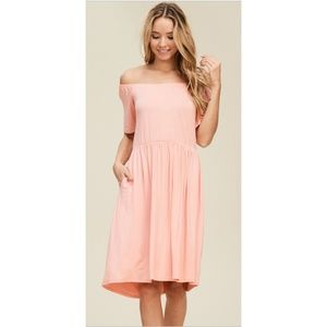 NWT Off Shoulder Dress With Pockets